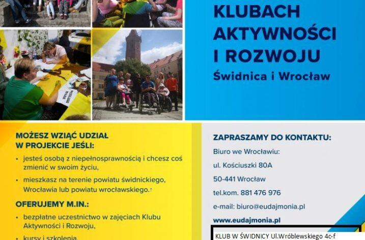 Klub aktywności i rozwoju w Świdnicy – nabór uczestników